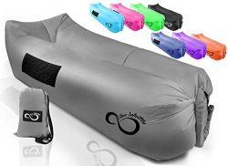 Inflatable Air Lounger Lounge Bag Chair -Big Headrest, 2 Pockets, 700 Gauge Liner, 420D Ripstop, ...
