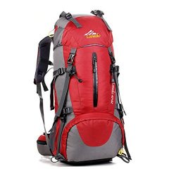 Hiking Backpack 50L Travel Daypack Waterproof with Rain Cover for Climbing Camping Mountaineerin ...