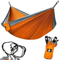 Legit Camping Double Hammock Backpack Beach Yard Gear with Nylon Straps with Steel Carabiners