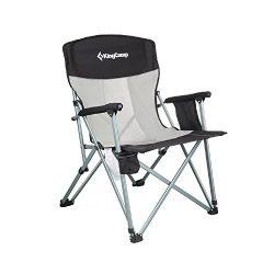 KingCamp Folding Chair Mesh Back with Cup Holder Armrest Pocket Headrest, Breathable Portable Ov ...