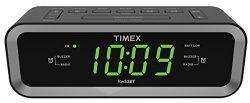 Timex T236BQX FM Dual Alarm Clock Radio with USB Charge Port – Black