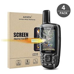 (Pack of 4) Tempered Glass Screen Protector for Garmin GPSMAP 62 64 64s 64st, Akwox 0.3mm 9H Har ...