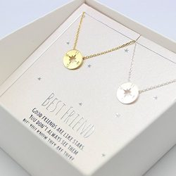 compass necklace, Best friend necklace for 2, BFF Necklace, friendship necklace for 2, silver da ...