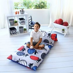 Kid's Floor Pillow Bed Cover – Use as Nap Mat, Portable Toddler Bed or inflatable ai ...