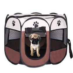 Dog Playpen Pet Portable Foldable Playpen Dogs Exercise Pleypens House Tent Pet Foldable Playpen ...