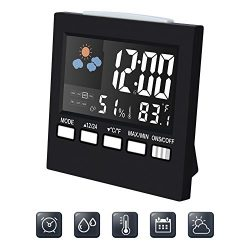 Digital Alarm Clock Led Desk Clock with Date Temperature humidity meter Backlight & Weather  ...
