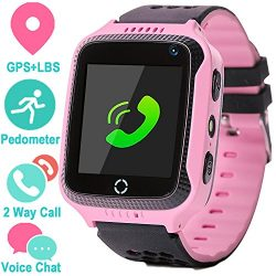 GPS Tracker Smart Watch for Kids – GPS Locator Pedometer Fitness Tracker Touch Camera Game ...