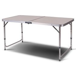 Giantex 2'x4′ Height Adjustable Folding Table Aluminum Frame Camping Picnic Portable