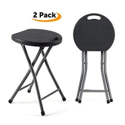 TAVR Folding Stool,Set of Two,Light Weight Metal and Plastic Folding Stool,400lb Capacity,2-Pack ...