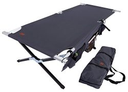 Tough Outdoors Camp Cot [XL] with Free Organizer & Storage Bag – Military Style Foldin ...
