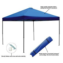 Blissun 10 x 10 Ft Outdoor Portable Instant Pop-Up Canopy Tent with Roller Bag (Blue)