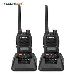 Floureon Rechargeable Walkie Talkies 2 Packs Two-Way Radio UHF 400-470MHz Walky Talky 22 Channel ...