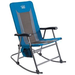 Timber Ridge Rocking Chair Folding Padded Patio Lawn Reclining Camping with Armrest, Side Storag ...