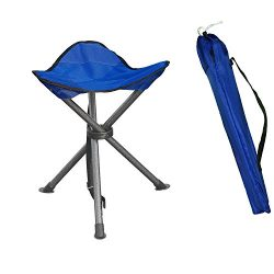 Portable Folding Tripod Stool Silver Flower Coated Slack Chair Lightweight Heavy Duty with Bag P ...