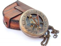 NEOVIVID Brass Sundial Compass With Leather Case And Chain – Push Open Compass – Ste ...