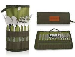 Cutlery Organizer Pouch – 13 Piece Silverware Table Display Stand | 13 Pc Flatware Foldabl ...