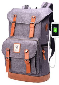 Laptop Backpack with USB Charging Port,Water Resistant College School Student Bookbag for Men&am ...