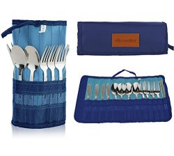 13 Piece Stainless Steel Family Cutlery Picnic Utensil Set with Travel Case for Camping | Hiking ...