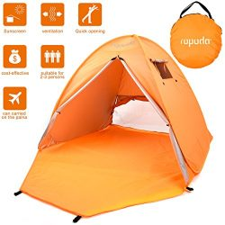 ROPODA Beach Tent, Portable Pop up Sun Shelter-Automatic Instant Family UV 2-3 Person Canopy Ten ...