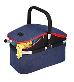 YAPA Extra Large Insulated Picnic Basket Roomy for Family Reunion Big Capacity Collapsible Soft  ...