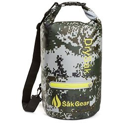 Såk Gear DrySak Waterproof Dry Bag with Exterior Zip Pocket, Shoulder strap and Reflective Trim, ...