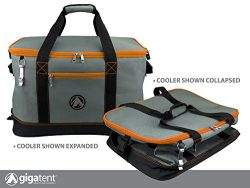 GigaTent Orange Insulated Collapsible Cooler – Soft Lunch Box with Bottle Opener For Campi ...