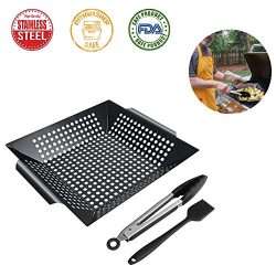 LIANGUS Vegetable Grill Basket Best in Barbecue Grilling Accessories, Grill BBQ Veggies Fish Mea ...