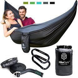Double Hammock with Tree Straps and Carabiners – by HikeGuru w/ Real Tree Straps| Metallic ...