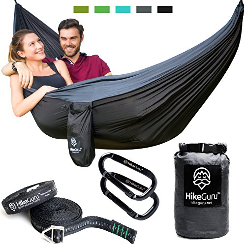Double Hammock with Tree Straps and Carabiners – by HikeGuru w/ Real Tree Straps  Metallic ...
