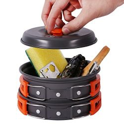 REDCAMP Anodized Camping Cookware Set,10 Pieces Lightweight & Compact Camping Mess Kit, Non- ...