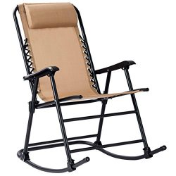 Goplus Folding Rocking Chair Recliner w/Headrest Outdoor Portable Zero Gravity Chair for Camping ...