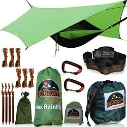 GoRoam Outdoors Camping Hammock with Mosquito Net and RainFly. HEX Rain Fly Waterproof Camping T ...