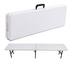 Fold in Half Bench,6′ Resin Multi-Purpose Center Folding Bench with Carrying Handle,Portab ...
