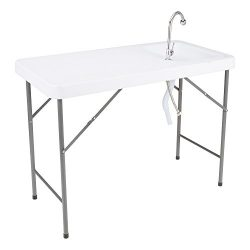 Norwood Commercial Furniture Folding Portable Fish Fillet/Hunting/Cutting Gardening Table with S ...