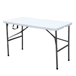 DlandHome 48″ Camping Folding Table, Portable Desk Indoor/Outdoor Picnic Party Dinner Tabl ...