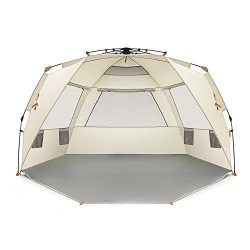 Easthills Outdoors Easy Up 4 Person Beach Tent Sun Shelter Deluxe XL – Extended Zippered P ...