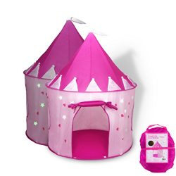 Fox Print Princess Castle Play Tent with Glow in the Dark Stars, conveniently folds in to a Carr ...