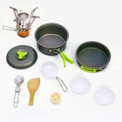 Camping Cookware Mess Kit Non Stick Anodized Aluminum Complete Cooking Pots Pan Utensils Stackab ...