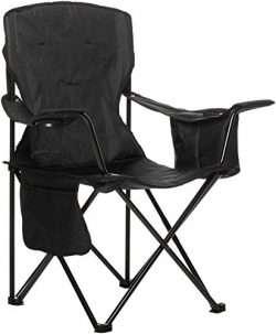 AmazonBasics Camping Chair with Cooler, Black (Padded)