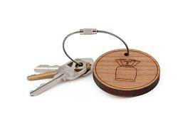 Camping Stove Keychain, Wood Twist Cable Keychain – Large