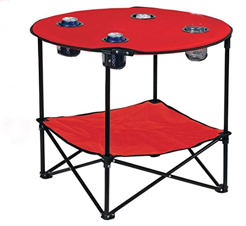 Preferred Nation Folding Table, Polyester with Metal Frame, 4 Mesh Cup Holders, Compact, Conveni ...