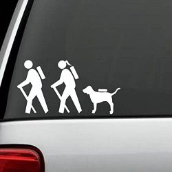 Hiker Couple Guy Girl with Dog Hiking Camper Camping Decal Sticker
