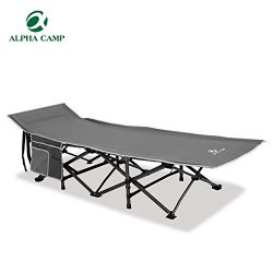 ALPHA CAMP Folding Camping Bed Cot Strong Stable Portable with Carry Bag
