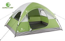 ALPHA CAMP 3 Person Tent for Camping Backpacking – 8′ x 7′ Green