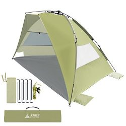 Leader Accessories EasyUp Beach Tent Quick Cabana Sun Shelter Family Use,Sets up in Seconds (Sand)