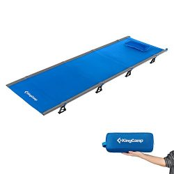 KingCamp Ultralight Compact Folding Camping Cot Bed, 4.4 Pounds (Blue)