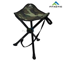 FITACTIC Outdoor Camouflage Folding Tri-Leg Tripod Stool for Disc Golf Frisbee, Camping, Fishing ...