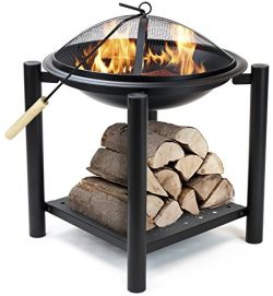 Sorbus Fire Pit Bowl Table with Storage Shelf Legs, Mesh Cover, Log Grate, and Poker Tool, Great ...