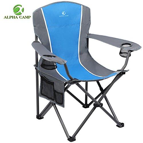 ALPHA CAMP Heavy Duty Folding Arm Chair Oversized Camping Chair Portable Padded Chair Lumbar Bac ...