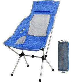 MARCHWAY Lightweight Folding High Back Camping Chair with Headrest, Portable Compact for Outdoor ...